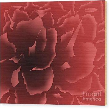Red Velvet Peony Wood Print
