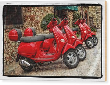 Red Vespas Wood Print by Mauro Celotti