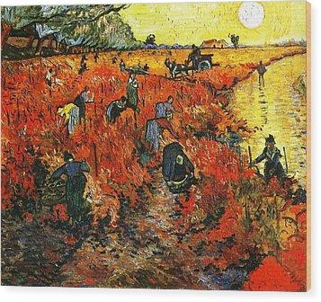 Red Vineyard Wood Print by Sumit Mehndiratta