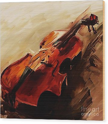 Red Violin  Wood Print