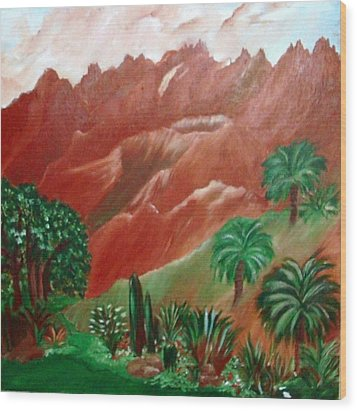 Wood Print featuring the painting Red Volcano by Sherri  Of Palm Springs