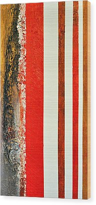 Red Vs Metallix Wood Print by Nicky Dou