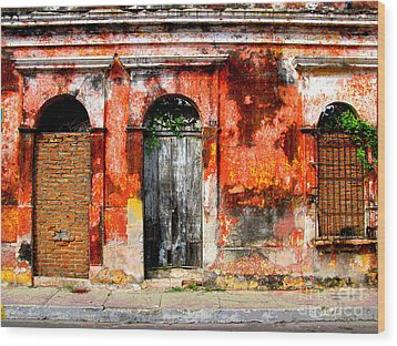 Red Wall By Darian Day Wood Print by Mexicolors Art Photography