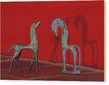 Red Wall Horse Statues Wood Print