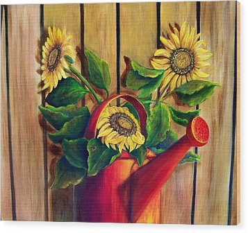 Red Watering Can With Sunflowers Wood Print by Susan Dehlinger
