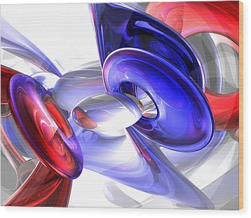 Red White And Blue Abstract Wood Print by Alexander Butler