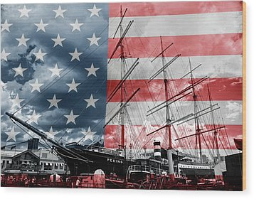 Red White And Blue Wood Print