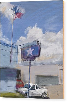Red White And Blue Wood Print by Russell Pierce