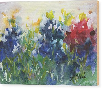 Red White And Bluebonnets Watercolor Painting By Kmcelwaine Wood Print