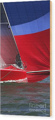 Red White Blue And Water Wood Print by Sandy Byers