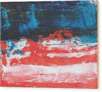 Red White Blue Scene Wood Print