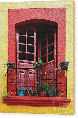 Red Window Wood Print by Mexicolors Art Photography
