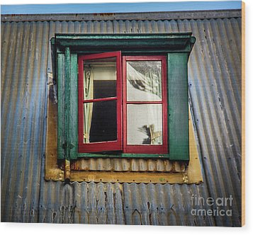 Wood Print featuring the photograph Red Windows by Perry Webster