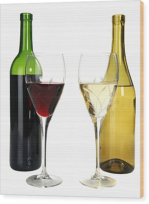 Red Wine And White Wine In Cut Crystal Wine Glasses  Wood Print by Michael Ledray