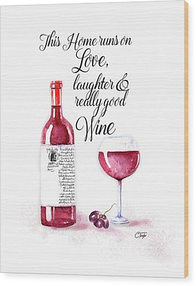 Wood Print featuring the digital art Red Wine by Colleen Taylor