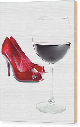 Red Wine Glass Red Shoes Wood Print by Dustin K Ryan
