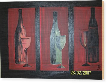 Red Wine Wood Print by Martha Mullins