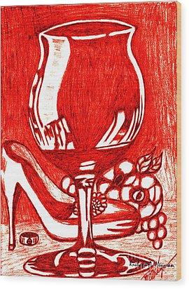 Red Wine Wood Print by Richard Heyman