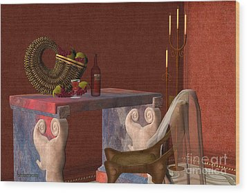 Red Wineglass Wood Print by Corey Ford