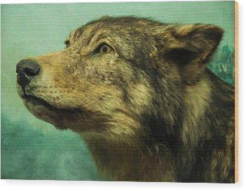 Wood Print featuring the digital art Red Wolf Digital Art by Chris Flees