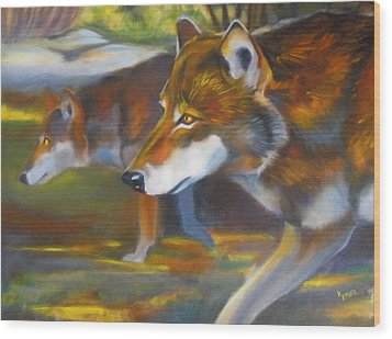 Red Wolves Wood Print
