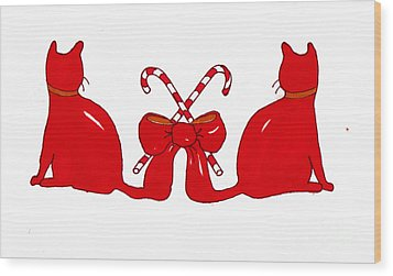 Wood Print featuring the painting Red Xmas Ribbon Cats by Rachel Lowry