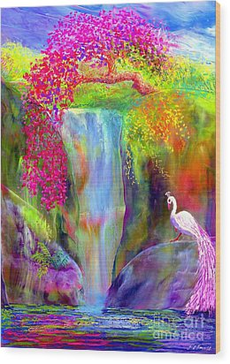 Waterfall And White Peacock, Redbud Falls Wood Print