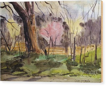 Wood Print featuring the painting Redbuds And Morels Matted Glassed Framed by Charlie Spear