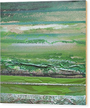 Redesdale Rhythms And Textures Series 3 Green And Gold Wood Print by Mike   Bell