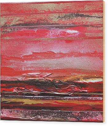 Redesdale Rhythms And  Textures Series  Red And Gold 3 Wood Print by Mike   Bell