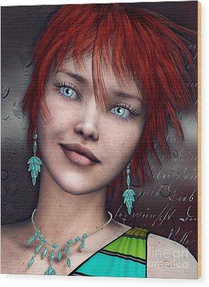 Redhead Wood Print by Jutta Maria Pusl