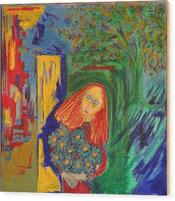 Redhead With Flowers Wood Print by Maggis Art