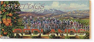 Redlands Greetings Wood Print by Linda Weinstock