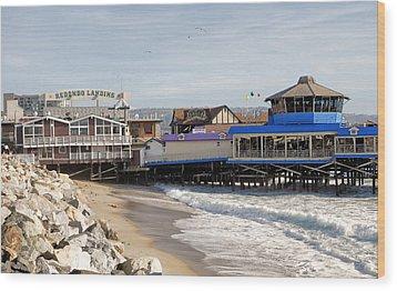 Redondo Beach Pier Shopping Wood Print
