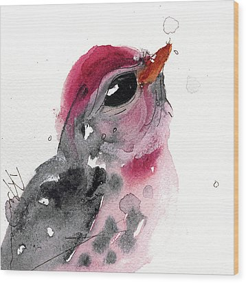 Wood Print featuring the painting Redpole by Dawn Derman