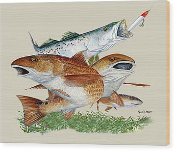 Reds And Trout Wood Print