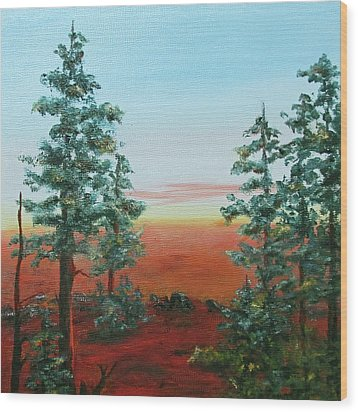 Redwood Overlook Wood Print by Roseann Gilmore