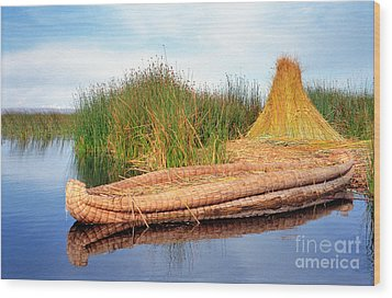 Wood Print featuring the photograph Reed Reflection by Nigel Fletcher-Jones