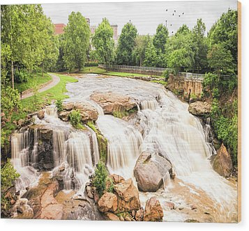 Wood Print featuring the photograph Reedy River Falls Greenville Sc by Bellesouth Studio