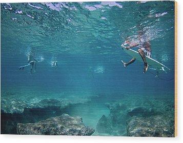 Reef Surfers Wood Print by Sean Davey