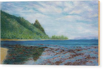 Reef Walk Wood Print by Kenneth Grzesik