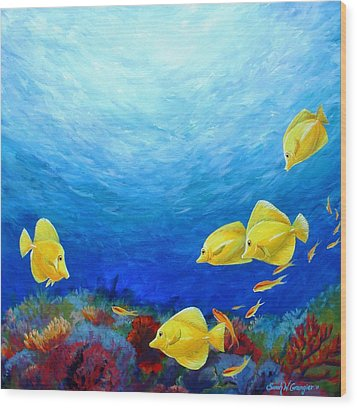 Reef With Yellow Tangs Wood Print