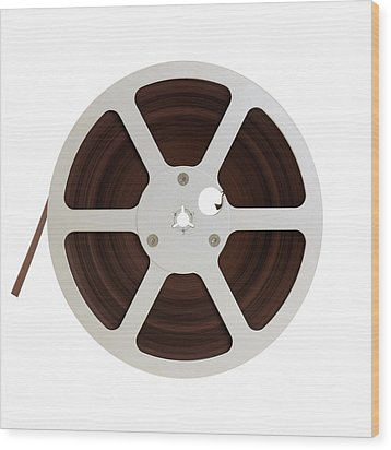 Wood Print featuring the photograph Reel Of Audio Recording Tape by Jim Hughes