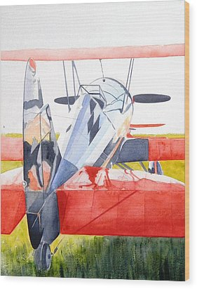 Reflection On Biplane Wood Print