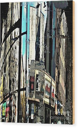 Reflected City 2 Wood Print by Sarah Loft