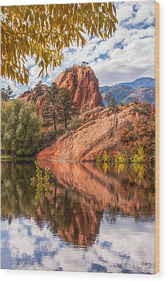 Reflecting At Red Rocks Open Space Wood Print by Christina Lihani