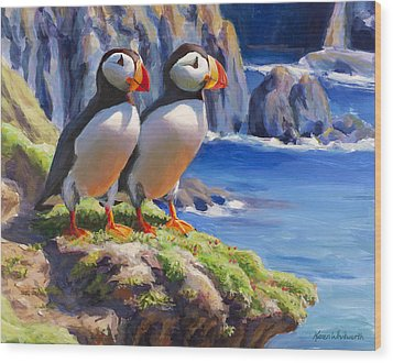 Wood Print featuring the painting Reflecting - Horned Puffins - Coastal Alaska Landscape by Karen Whitworth