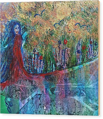 Wood Print featuring the painting Reflection by Julie Engelhardt