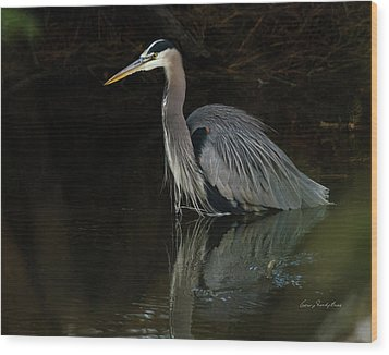 Reflection Of A Heron Wood Print by George Randy Bass