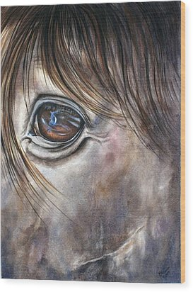 Reflection Of A Painted Pony Wood Print by Mary McCullah